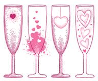 Vector set with dotted champagne glass with heart in pink isolated on white background. Champaign glass and hearts in dotwork. Vector set with dotted champagne Royalty Free Stock Photos