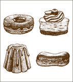 Vector set of doughnut pastry cake eclair. Vector hand drawn set of doughnut pastry cake eclair Royalty Free Stock Photography