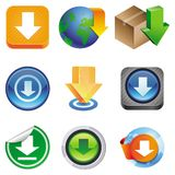 Vector set with download icons Stock Photo