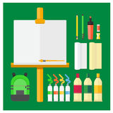 Vector set Drawing, color drawing equipment frame paintbrush, eraser Royalty Free Stock Images