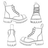 Vector set of drawings with boots. EPS10 Stock Photo