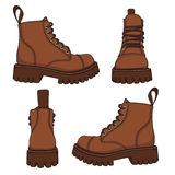 Vector set of drawings with brown boots. EPS10. Vector set of drawings with brown boots. Isolated objects on a white background royalty free illustration