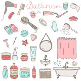 Vector set of drawn bathroom themed objects and appliances Stock Photos