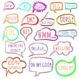 VECTOR set of drawn colorful vector speech and thought bubbles Stock Images