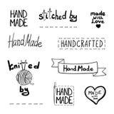 Vector Set of Drawn Design Elements, Handmade Theme, Black Linear Icons. stock illustration