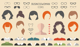 Vector set of dress up constructor with businesswoman haircuts, lips etc. in flat style. Female faces icon creator. Big vector set of dress up constructor with royalty free illustration