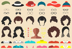 Vector set of dress up constructor with differen twoman haircuts, glasses etc. in flat style. Female faces icon creator. Big vector set of dress up constructor royalty free illustration