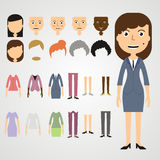 Vector set of dress up constructor with different business women Stock Images