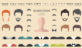 Vector set of dress up constructor with different businessman glasses, beard etc. in flat style. Male faces icon creator. Big vector set of dress up constructor royalty free illustration