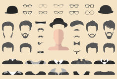 Vector set of dress up constructor with different glasses, beard, mustache, wear in flat style. Male faces icon creator. Stock Photos