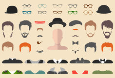 Vector set of dress up constructor with different glasses, beard, mustache, wear in flat style. Male faces icon creator. Big vector set of dress up constructor Royalty Free Stock Images