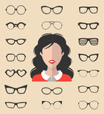 Vector set of dress up constructor with different glasses in trendy flat style. Female in sunglasses faces icon creator. Stock Photography