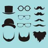 Vector set of dress up constructor with different men glasses, b stock illustration