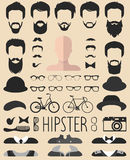 Vector set of dress up constructor with different men hipster haircuts, glasses, beard etc. App man faces icon creator. Big vector set of dress up constructor vector illustration