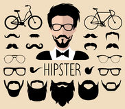 Vector set of dress up constructor with different men hipster haircuts,glasses etc.in flat style.Male faces icon creator. Big vector set of dress up constructor Royalty Free Stock Images