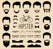 Vector set of dress up constructor with different men hipster haircuts,glasses etc.in flat style. Man faces icon creator. Big vector set of dress up constructor vector illustration