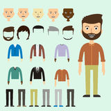 Vector set of dress up constructor with different men in trendy vector illustration