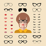 Vector set of dress up constructor with different woman eyelashes,glasses,lips in flat style. Female faces icon creator. Big vector set of dress up constructor royalty free illustration
