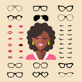 Vector set of dress up constructor with different woman eyelashes, glasses, lips in flat style.Female faces icon creator. Big vector set of dress up constructor vector illustration