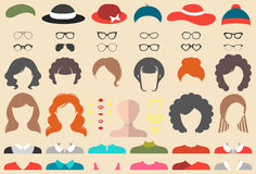 Vector set of dress up constructor with different woman haircuts, glasses etc. in flat style. Female faces icon creator. Big vector set of dress up constructor royalty free illustration