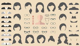 Vector set of dress up constructor with different woman haircuts, glasses etc. in flat style. Female faces icon creator. Big vector set of dress up constructor stock illustration
