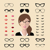 Vector set of dress up constructor with woman eyelashes, glasses, lips in trendy flat style. Female faces icon creator. Big vector set of dress up constructor royalty free illustration