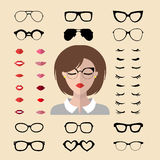 Vector set of dress up constructor with woman eyelashes, glasses, lips in trendy flat style. Female faces icon creator. Big vector set of dress up constructor stock illustration