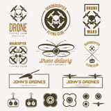 Vector set of drone flying club labels, badges Royalty Free Stock Images