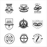 Vector set of drone flying club labels, badges, design elements. Stock Photo
