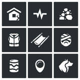 Vector Set of Earthquake Icons. Destruction, Seismic Activity, Rock Collapse, Lifeguard, Evacuation, Victim, Geological Royalty Free Stock Image