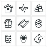 Vector Set of Earthquake Icons.  Royalty Free Stock Images