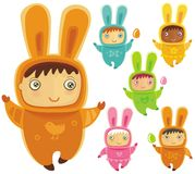 Vector set of easter bunnies Stock Images