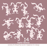 Vector set of Easter bunnies. Fourteen rabbits silhouettes royalty free illustration