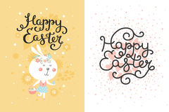 Vector set of easter cards with bunny, egg Royalty Free Stock Photo