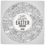 Vector set of Easter cartoon doodle objects Stock Photo