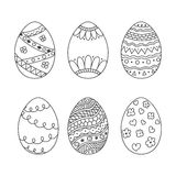 Vector set of easter eggs in doodle style. Hand drawn egg Royalty Free Stock Photo