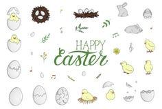 Vector set of Easter elements vector illustration