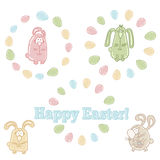 Vector set of easter symbols - easter eggs, bunnies and words HAPPY EASTER! Royalty Free Stock Photo