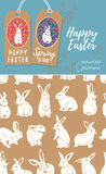 Vector set of Easter tags and Rabbit easter seamless pattern. Vector set of Easter labels and seamless pattern with bunnies Stock Photos
