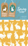 Vector set of Easter tags and Rabbit easter seamless pattern. Vector set of Easter labels and yellow seamless pattern with bunnies Royalty Free Stock Photo
