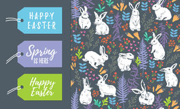 Vector set of Easter tags and seamless pattern. Vector Set of Easter holiday labels and seamless floral pattern with white rabbits Royalty Free Stock Photography
