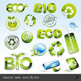 Vector set: eco & bio. Set of different green icons, stickers amd stamps - 16 items Royalty Free Stock Images
