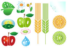 Vector set of eco and bio icons stock illustration