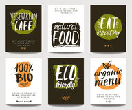 Vector set with eco friendly and organic food templates. Trendy vegetarian posters for flyers, banners, restaurant or cafe menu design. Natural food and Royalty Free Stock Photography