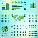 Vector set of eco infographics. World map, charts, trees, urban icons on green background. Environment, ecosystem, population vector illustration