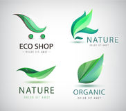 Vector set of eco logos, leaves, organic Stock Photos