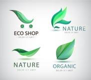 Vector set of eco logos, leaves, organic Stock Photos