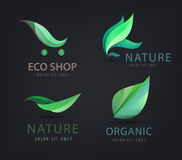 Vector set of eco logos, leaves, organic Royalty Free Stock Image