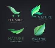 Vector set of eco logos, leaves, organic Royalty Free Stock Image