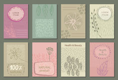 Vector set of eco nature labels or business card templates. Stock Photo